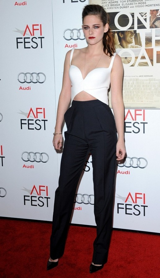 Kristen Stewart White Criss Cross Crop Top by Balenciaga