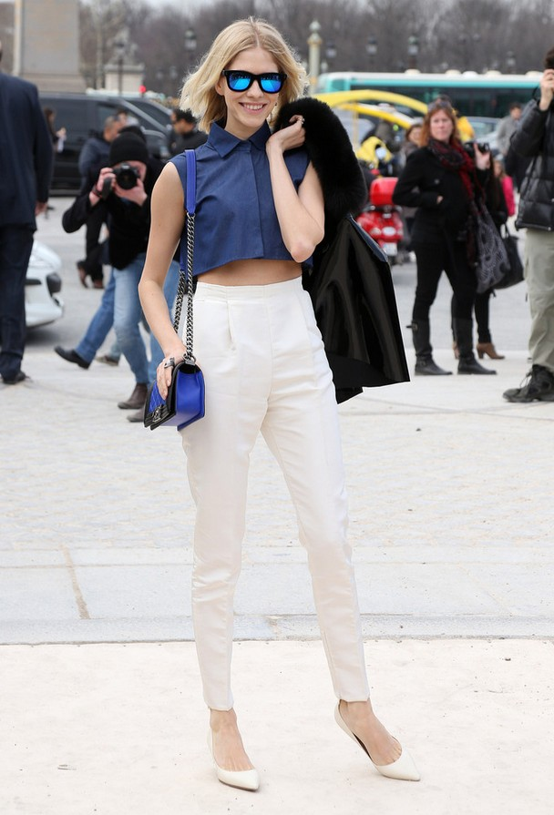 Elena Perminova Croped Navy Crop Top