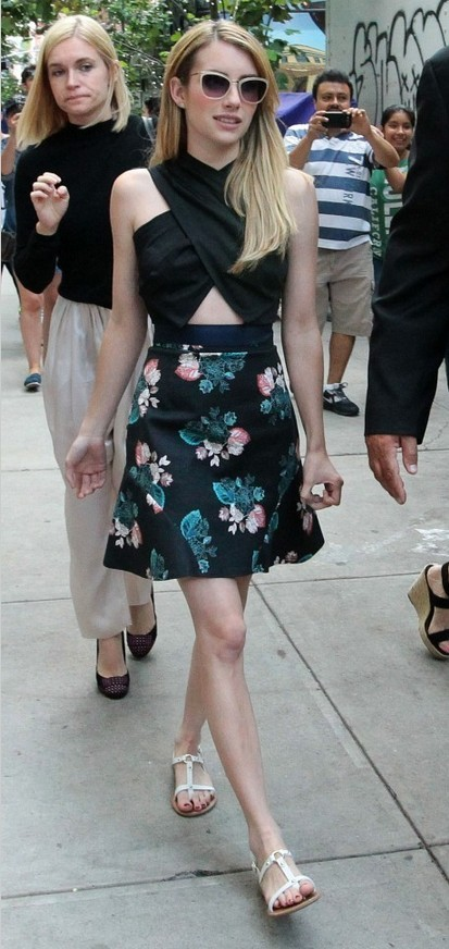 Emma Roberts Criss Cross Crop Top