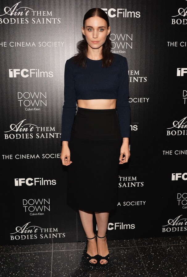 Rooney Mara Navy Blue Long Sleeve Crop Top by Calvin Clein