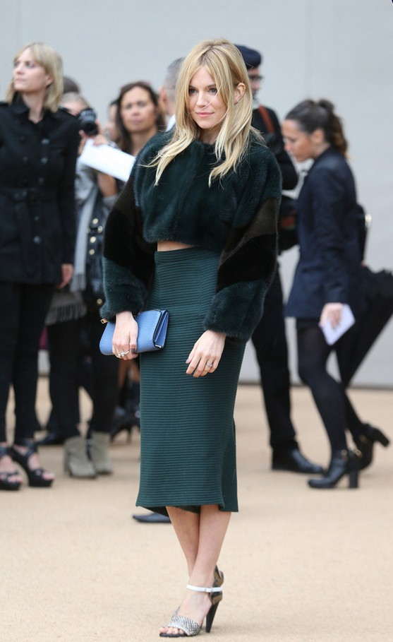 Sienna Miller fur crop top