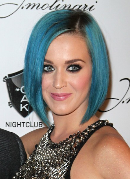 "Katy Perry Short Blue A Line Bob Hairstyles ""width ="" 465"