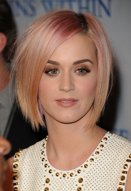 "Katy Perry Short Hairstyles - Pink and Apricot Blonde Bob ""width ="" 465"
