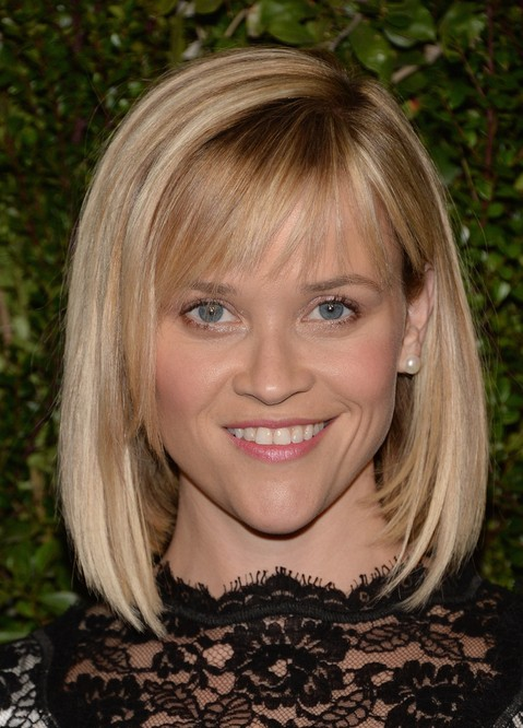 "Reese Witherspoon Short blunt bob haircut with bangs for women ""width ="" 465"