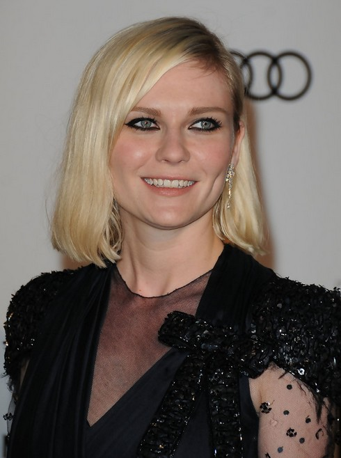 "Kirsten Dunst Medium length bob hairstyle for round faces ""width ="" 465"