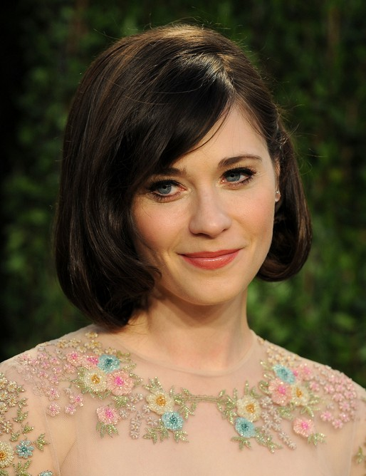 "Zooey Deschanel Short Layered Bob Hairstyle with Side Bangs for Thick Hair"" width=""465"