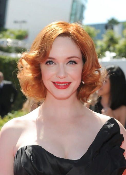 "Christina Hendricks Short Red Curly Hairstyle for Women"" width=""465"