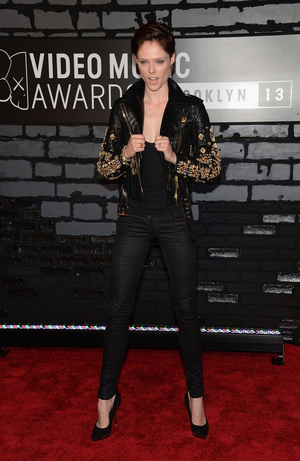 Coco Rocha Stud Black leather jacket by Fausto Puglisi
