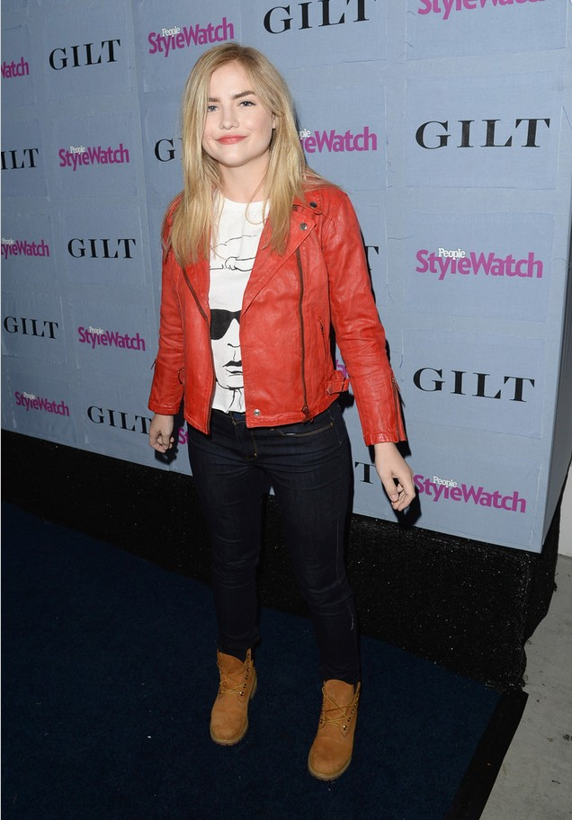 Maddie Hasson red leather jacket