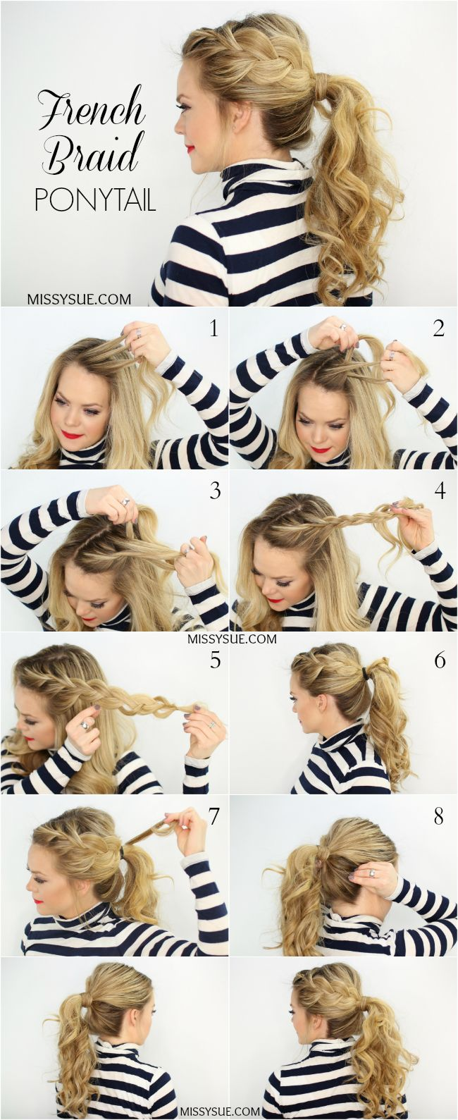 Page French Braid Ponytail Hairstyle Tutorial