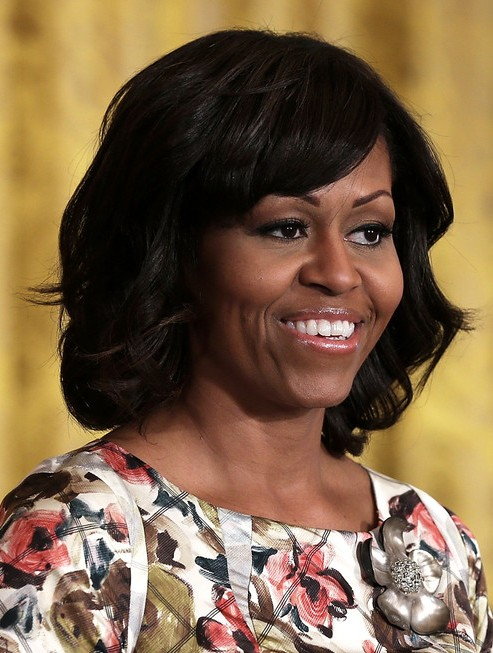 2014 Michelle Obama Medium Hairstyles: Large Wavy Hairstyle for Black Women