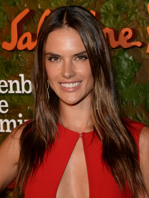2014 Alessandra Ambrosio hairstyles: middle part hairstyle for straight hair