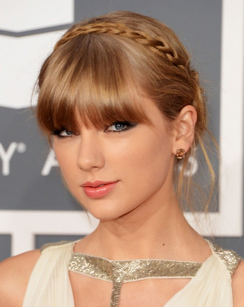 2014 Taylor Swift Hairstyles: Braided Updo with Bangs