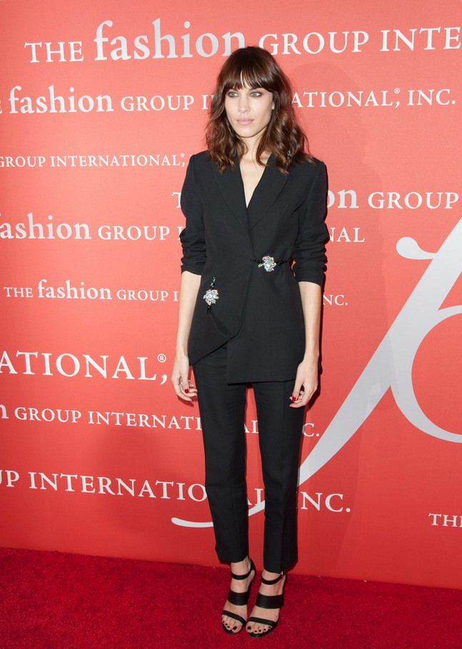 Alexa Chung Stylish black pant suit by Christopher Kane