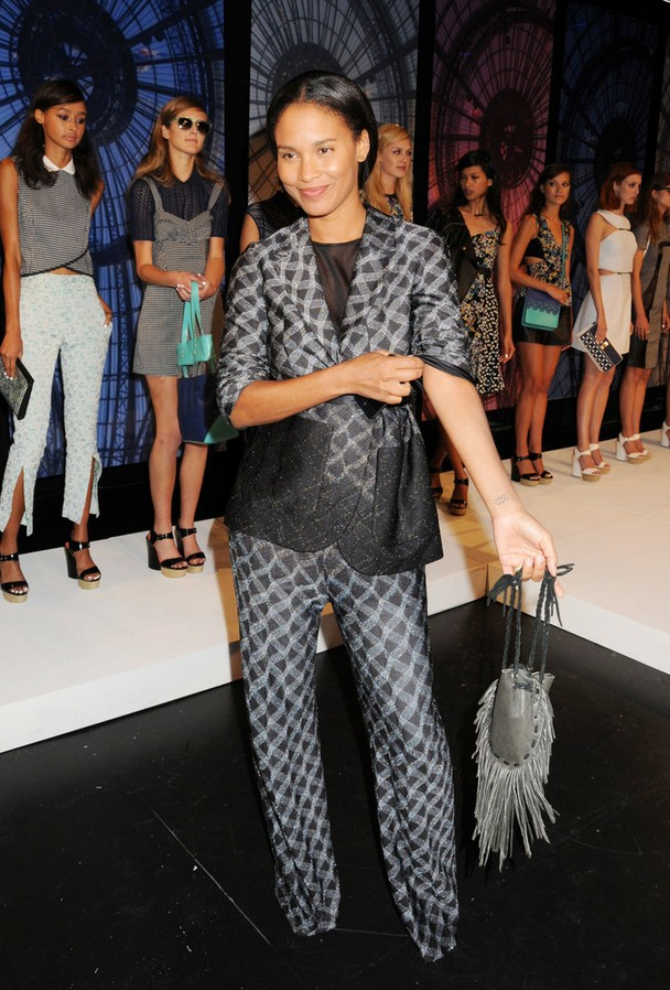 Joy Bryant patterned gray pant suit