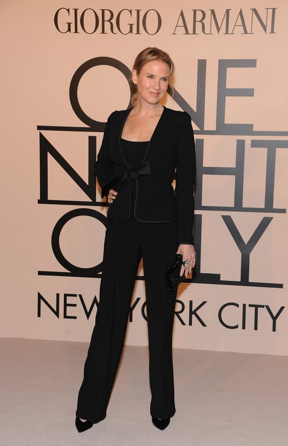 Renee Zellweger Black Armani pants suit