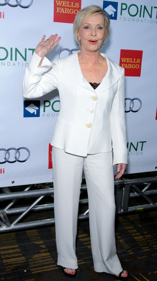 Florence Henderson Simple white pant suit