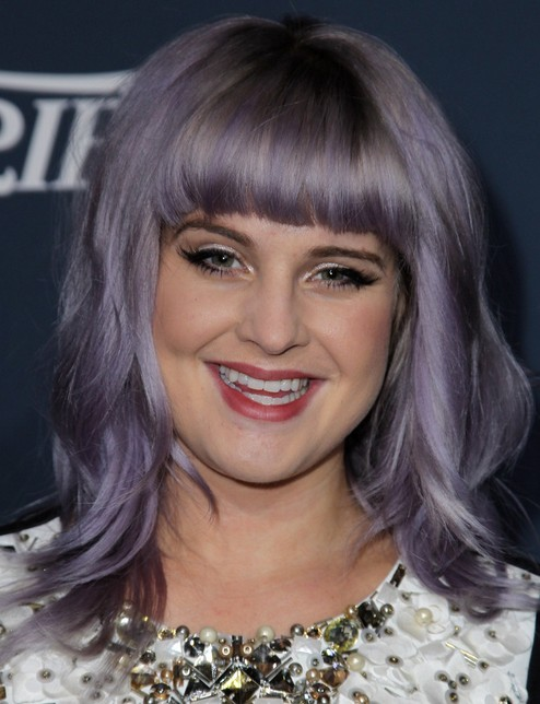 2014 Kelly Osbourne hairstyles: shoulder length haircut with blunt bangs