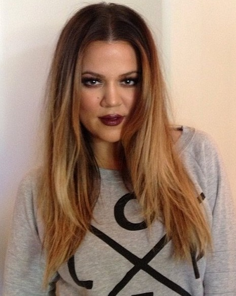 2014 Khloe Kardashian hairstyles: middle part hairstyle for long hair