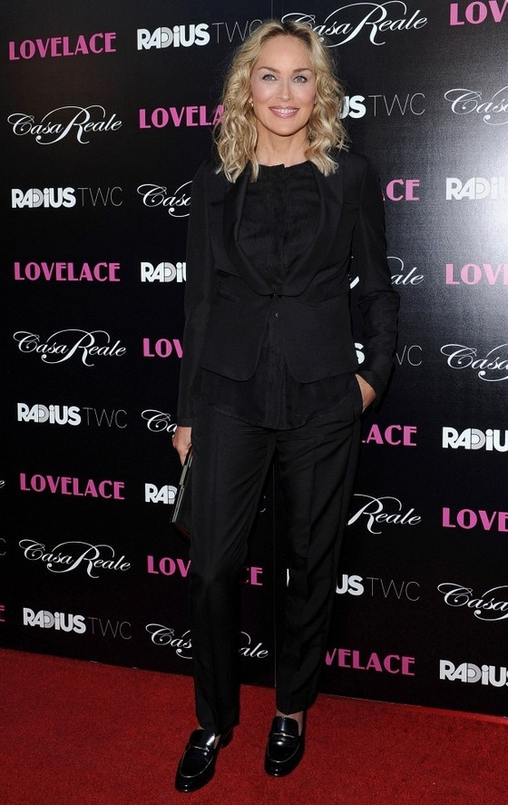 Sharon Stone Black Menswear Pantsuit by Salvatore Ferragamo