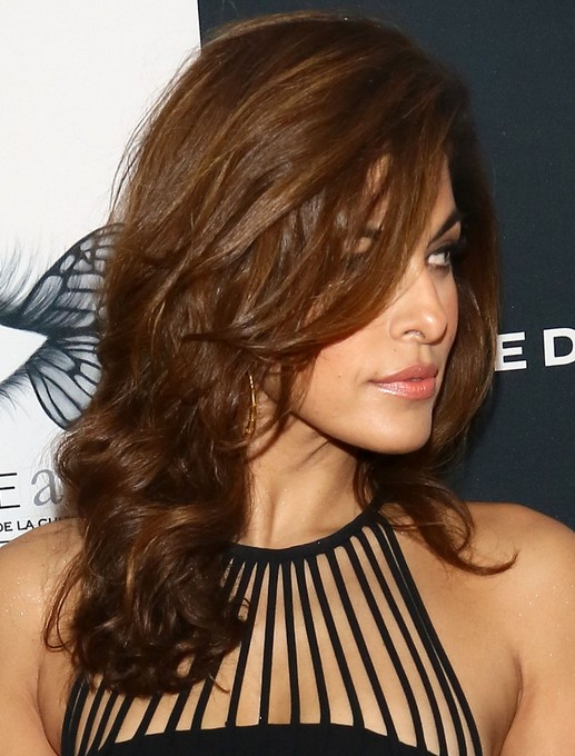 2014 Eva Mendes hairstyles: brown long hair