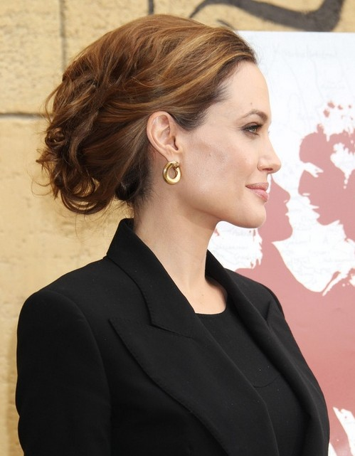 2014 Angelina Jolie Hairstyles: Formal Messy Updo Hairstyle