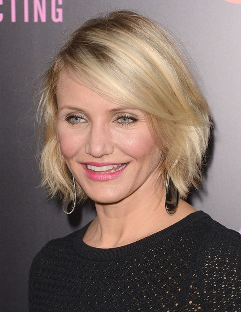 2014 Cameron Diaz Hairstyles: Straight Short Bob Haircuts