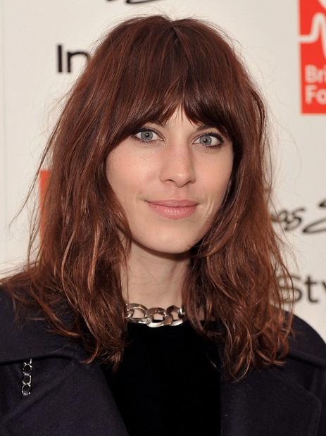 2014 Alexa Chung Hairstyles: Brown Medium Hair