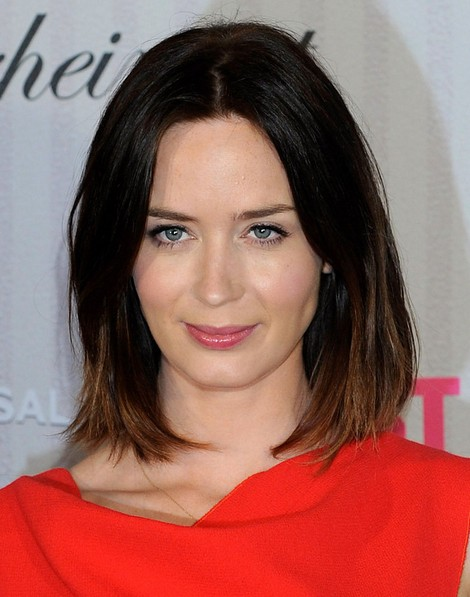 2014 Emily Blunt Hairstyles: Ombre Long Bob Haircut