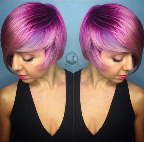 Trendy short purple hairstyle