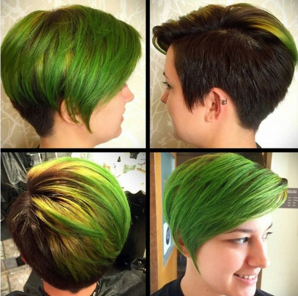 Edgy colored short hairstyle