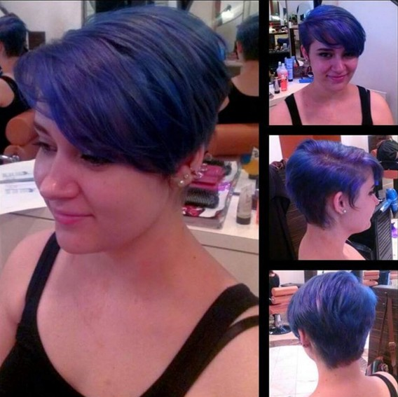 Short layered pixie hairstyle for blue hair