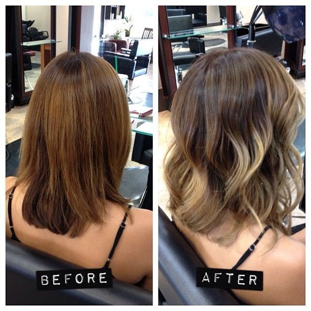 Medium layered hairstyle for ombre hair