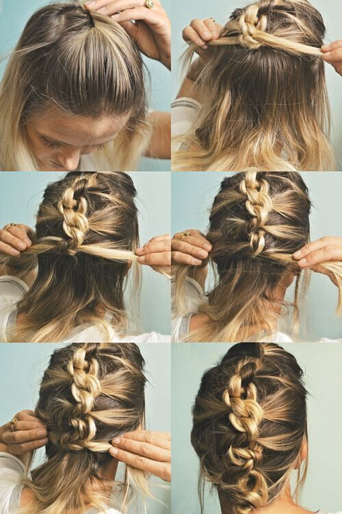 French Braid Updo for medium length hair