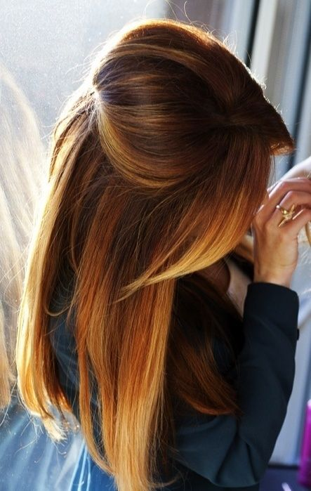 Half up brown straight hairstyle
