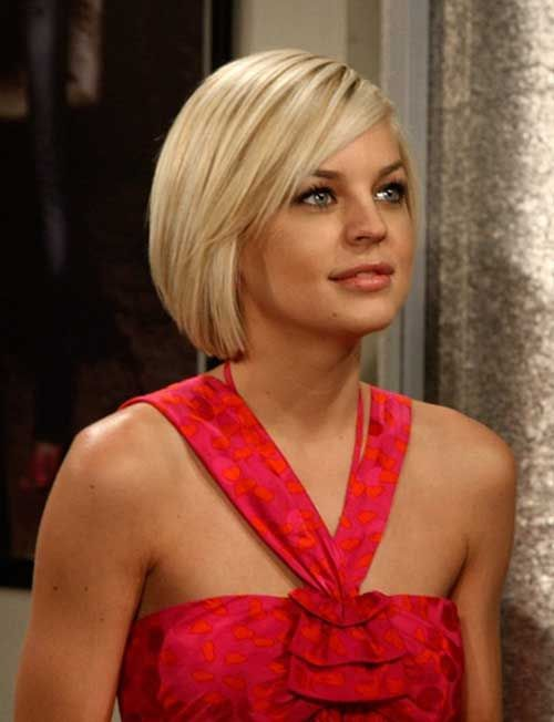 Short blonde straight bob hairstyle