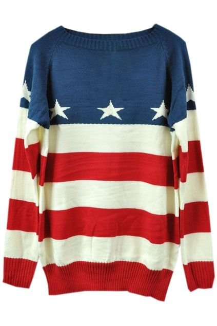 Red and white striped stars print blue sweaters - the latest street fashion 2014