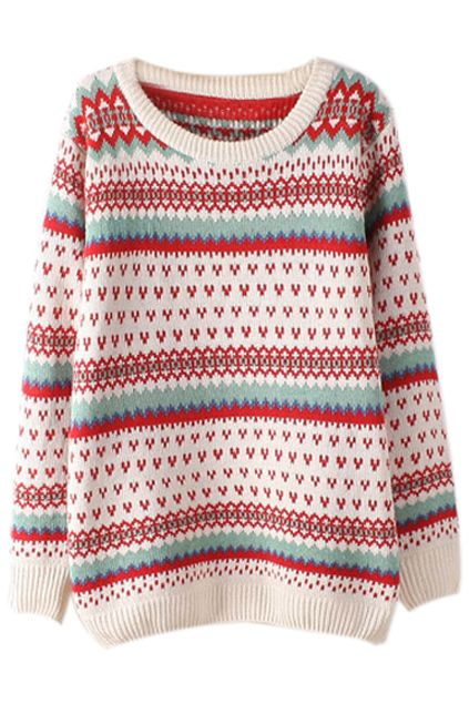 Heart & Stripes Kintted Cream Jumper - The latest street fashion for 2014