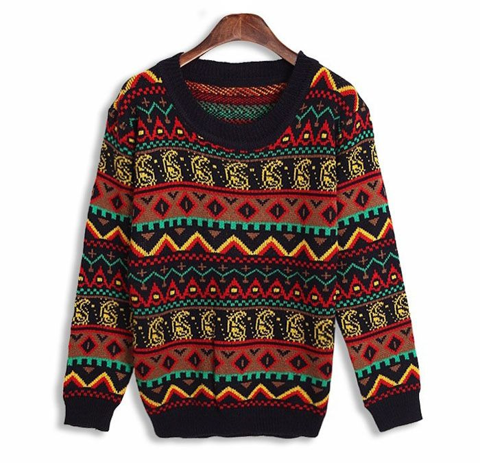 Vintage Multicolor Geometric Pattern Long Sleeve Ladies Sweater for Women 2014