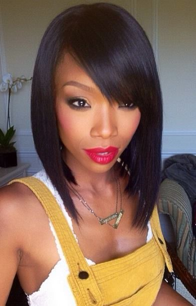 Sleek black bob hairstyle with bangs