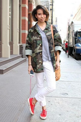 Military trend inspiration for spring 2014, camouflage jacket with coral sneakers