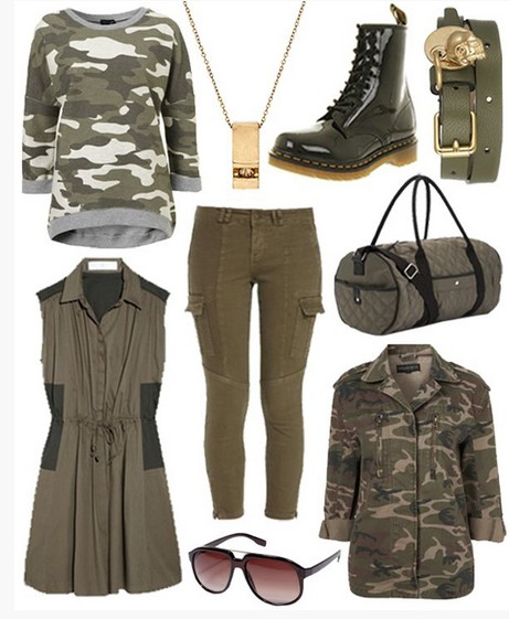 Military outfit idea for spring 2014, camo knit top and half-calf boots