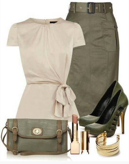 Military outfit idea for spring 2014, ivory top, pencil dress and pumps