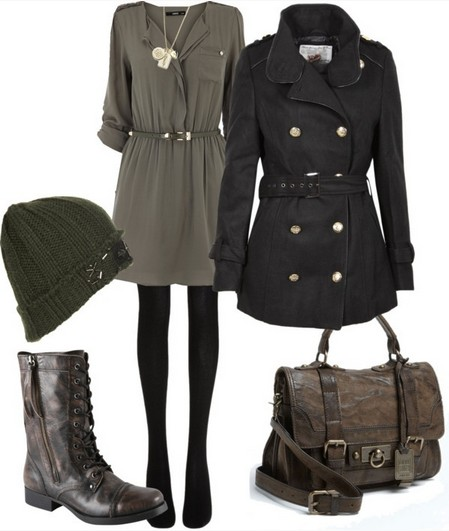 Military outfit idea for spring 2014, olive green sweater and pea coat