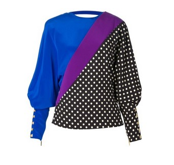 EMANUEL UNGARO polka dot silk blouse, blue and purple and black and white dotted