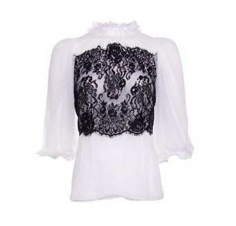 Dolce & Gabbana blouse made of white and black lace, dotted fabric