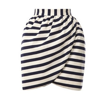 Striped mini wrap skirt by Harvey Faircloth, black and white