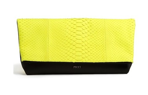 Emilio Pucci snakeskin clutch, black and yellow, snakeskin