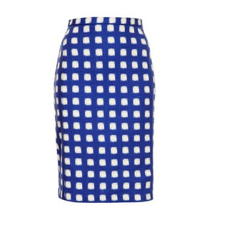 TOPSHOP Blurry Check pencil skirt, blue and white