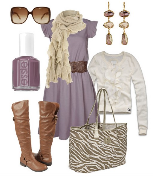 The trendy outfit idea, a light purple dress, a white knitted top and light brown knee-length boots